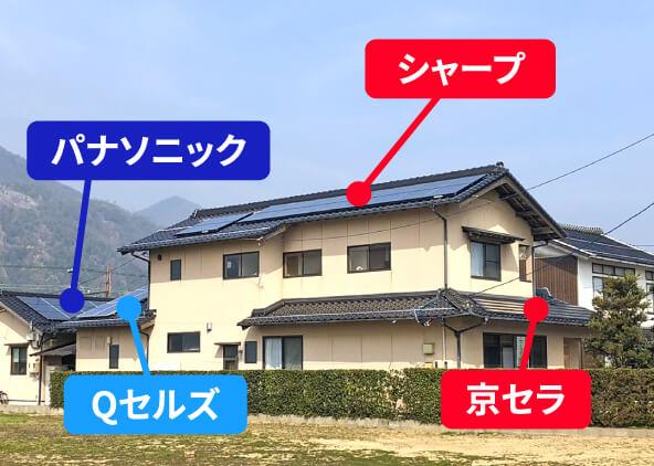 メーカー別の太陽光発電を設置した住宅の写真